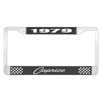 OER® - Black / Chrome License Plate Frame with Style 1 1979 Caprice Logo