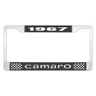 OER® - License Plate Frame with Style 1 White 1967 Camaro Logo