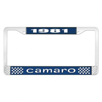 OER® - License Plate Frame with Style 1 White 1981 Camaro Logo