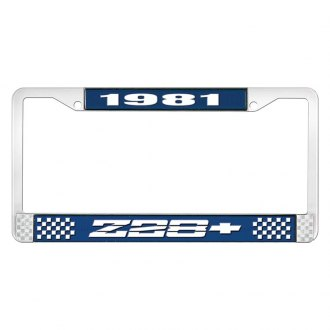 OER® - Blue / Chrome License Plate Frame with Style 1 White 1981 Z28 Logo
