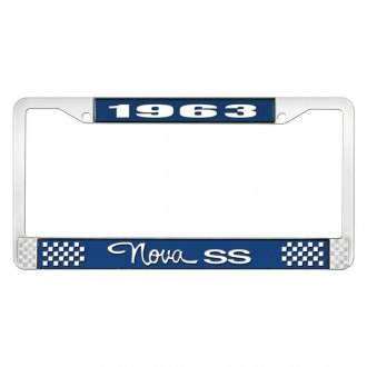 OER® - Blue / Chrome License Plate Frame with White 1963 Nova SS Logo and Text Style 3