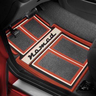 OER® - 1st & 2nd Row Carpet Red/Black/Beige Floor Mats with Nomad Script Logo