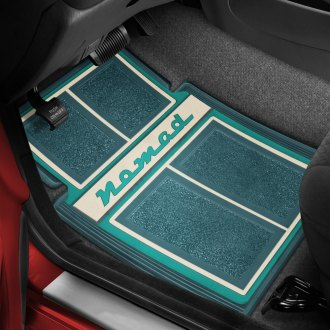 OER® - 1st & 2nd Row Carpet Dark Turquoise/Turquoise/Ivory Floor Mats with Nomad Script Logo