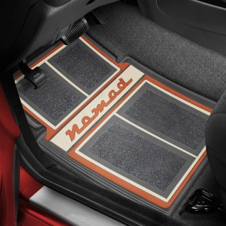 OER® - 1st & 2nd Row Carpet Gray/Coral/Beige Floor Mats with Nomad Script Logo
