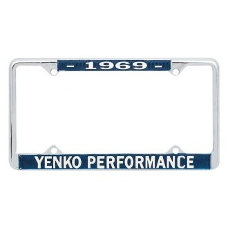 OER® - Blue / Chrome License Plate Frame with White 1969 Yenko™ Performance