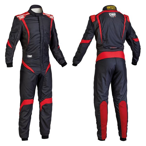 OMP® - One-S1 Series Racing Suit, 46 Size, Black with Red