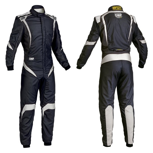 OMP® - One-S1 Series Racing Suit, 60 Size, Black with White