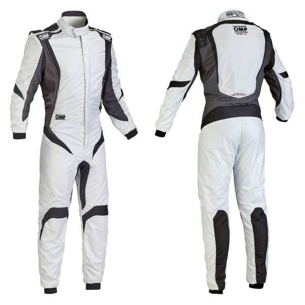 OMP® - One-S1 Series Racing Suit, 58 Size, Silver with Black