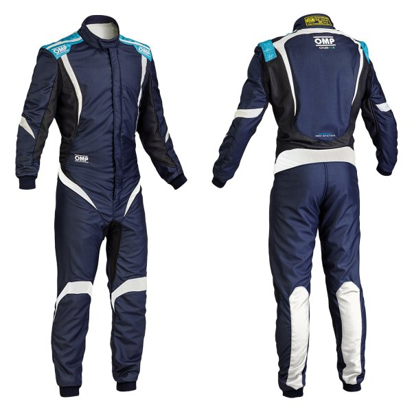 OMP® - One-S1 Series Racing Suit, 50 Size, Navy Blue with Cyan