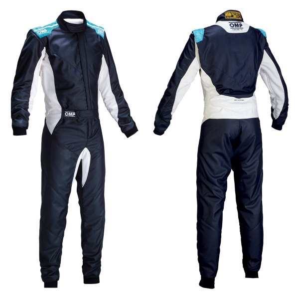 OMP® - One-S 2016 Series Racing Suit, 56 Size, Navy Blue with Cyan