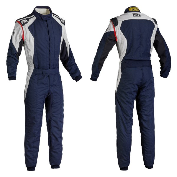 OMP® - First EVO Series Racing Suit, 62 Size, Navy Blue with White