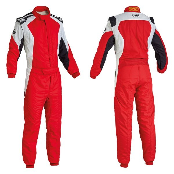 OMP® - First EVO Series Racing Suit, 44 Size, Red with White