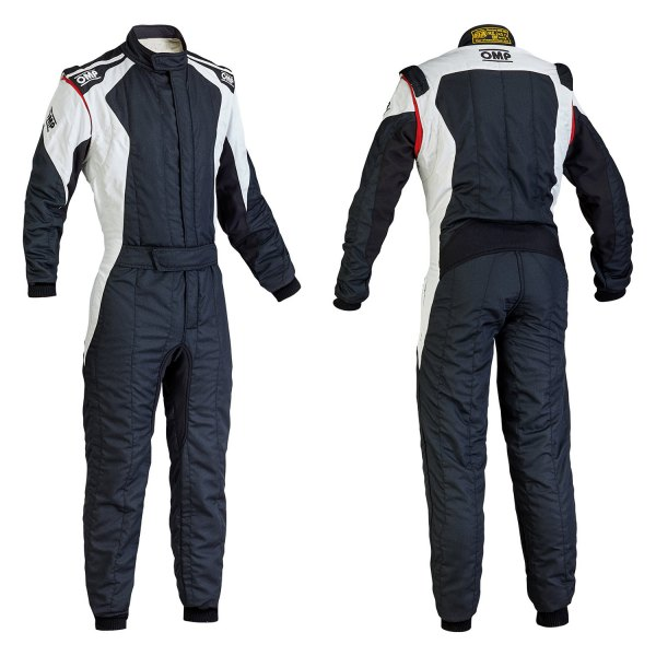 OMP® - First EVO Series Racing Suit, 54 Size, Black with White