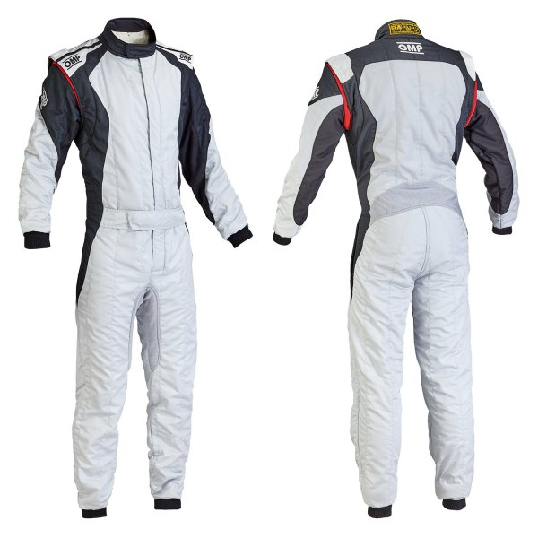 OMP® - First EVO Series Racing Suit, 56 Size, Silver with Black
