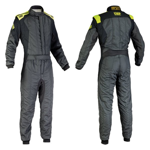 OMP® - First EVO Series Racing Suit, 64 Size, Anthracite with Yellow