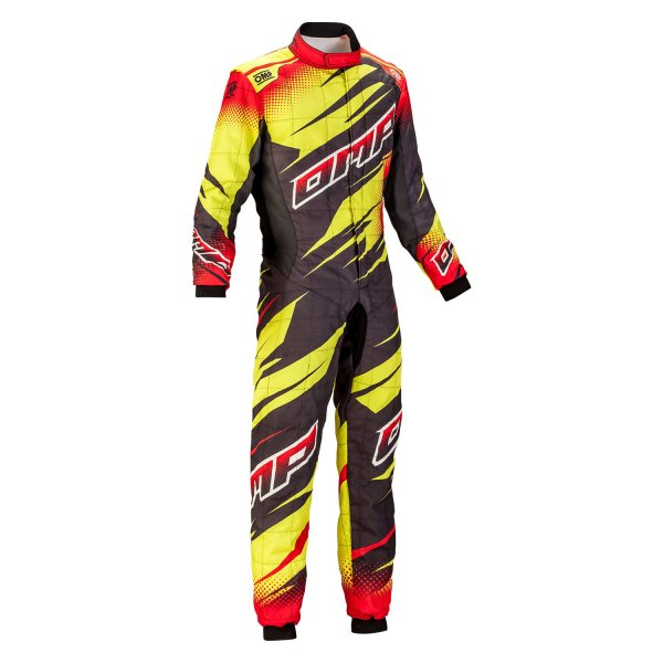 OMP® - One Art Series Racing Suit, 46 Size, Anthracite/Red/Yellow