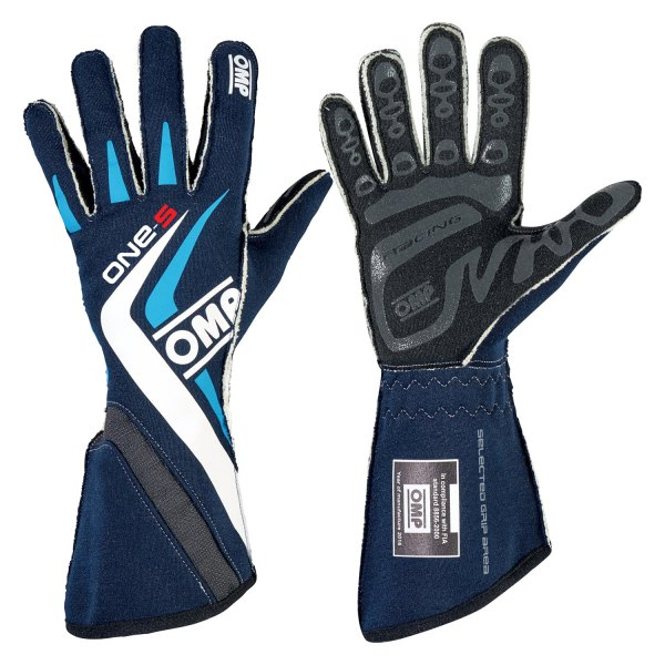 OMP® - One S 2016 Series Racing Gloves, L Size, Navy Blue with Cyan