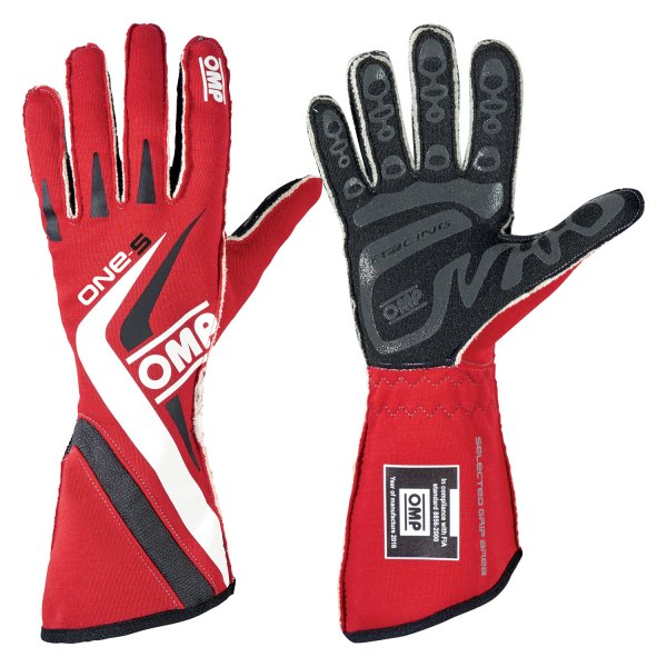 OMP® - One S 2016 Series Racing Gloves, L Size, Red