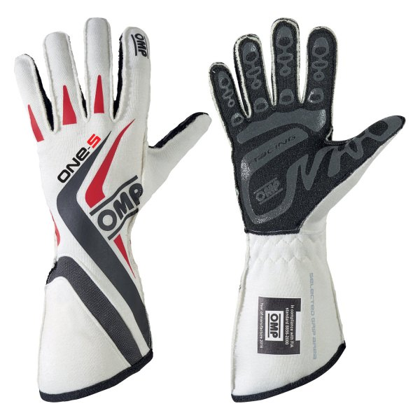 OMP® - One S 2016 Series Racing Gloves, S Size, White