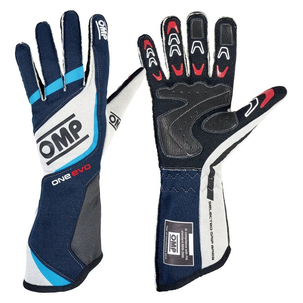 OMP® - One EVO Series Racing Gloves, XS Size, Black/Gray/Cyan