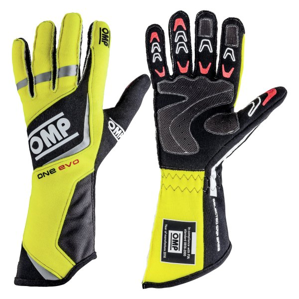 OMP® - One EVO Series Racing Gloves, M Size, Black/Gray/Yellow