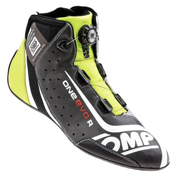OMP® - One EVO R Series Driving Shoes, 38 Size, Black/Silver/Yellow