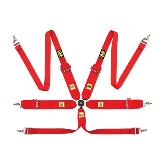 "OMP® - 6 Points 802HF Series Competition Harnesses, FIA 8853/98 (Lap Strap Buckle, Snap On, 2/3""-3""-2"")"