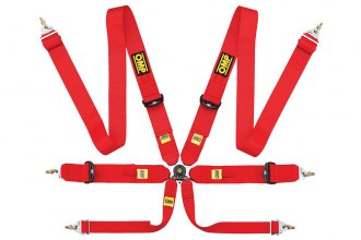 "OMP® - 6 Points 804F Series Competition Harnesses, FIA 8853/98 (Crotch Strap Buckle, Snap On, 3""-3""-2"")"