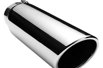 Onki® - Stainless Steel Round Rolled Edge Angle Cut Polished Exhaust Tip