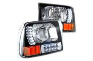 Option-R® - Black Euro Headlights with LEDs