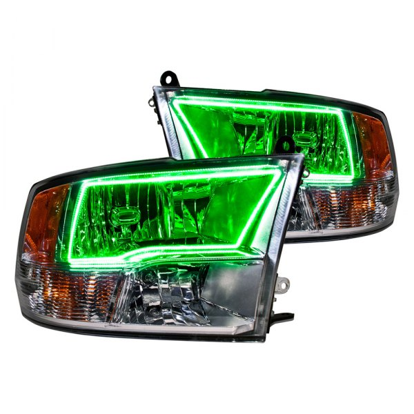 Oracle Lighting® - Chrome Headlights with Green Halos Preinstalled
