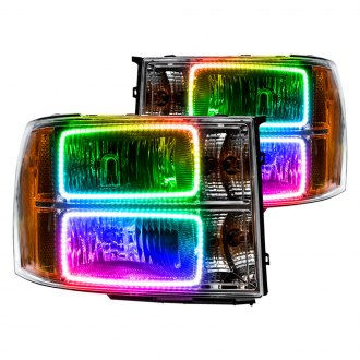 Oracle Lighting® - Chrome Factory Style Headlights with Square Ring Color Halo