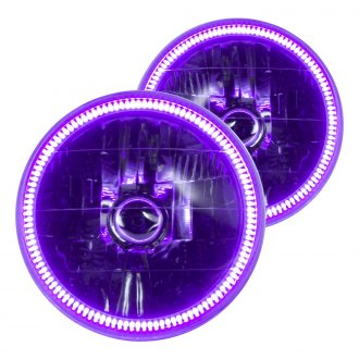 "Oracle Lighting® - 7"" Round Chrome Factory Style Headlights with UV/Purple SMD LED Halos Preinstalled"
