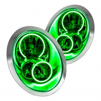 Oracle Lighting® - Chrome Factory Style Headlights with Green SMD LED Halos Preinstalled