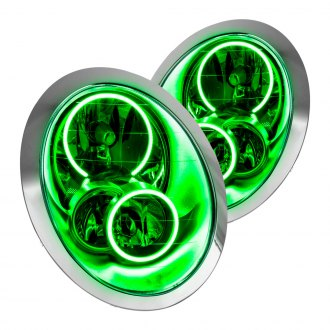 Oracle Lighting® - Chrome Factory Style Headlights with Green Plasma LED Halos Preinstalled