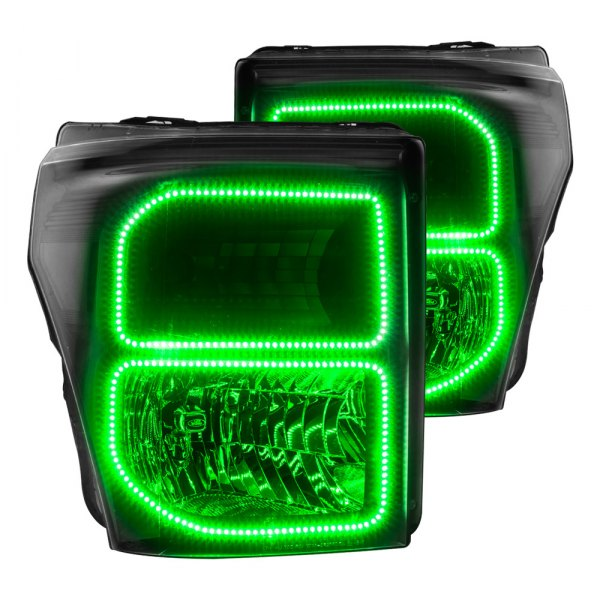Oracle Lighting® - Black Factory Style Headlights with Green SMD LED Halos Preinstalled
