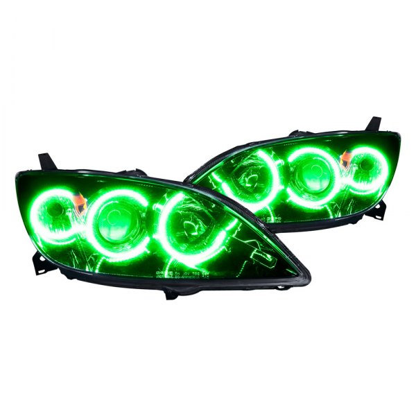 Oracle Lighting® - Black Headlights with Green Halos Preinstalled