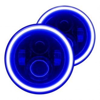 "Oracle Lighting® - 7"" Round Black Projector LED Headlights with Color Halo"