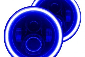 "Oracle Lighting® - 7"" Round Black Projector LED Headlights with Blue Plasma Halos Preinstalled"