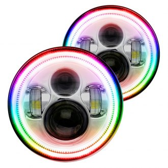 "Oracle Lighting® - 7"" Round Chrome Projector LED Headlights with ColorSHIFT Halo"