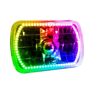 "Oracle Lighting® - 7x6"" Rectangular Chrome Factory Style Headlight with ColorSHIFT Halo"