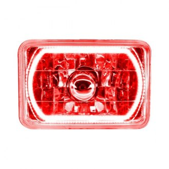 "Oracle Lighting® - 4x6"" Rectangular Chrome Factory Style Headlight with Red SMD Halo Preinstalled"