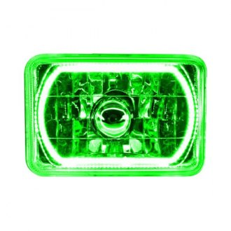 "Oracle Lighting® - 4x6"" Rectangular Chrome Factory Style Headlight with Green SMD Halo Preinstalled"