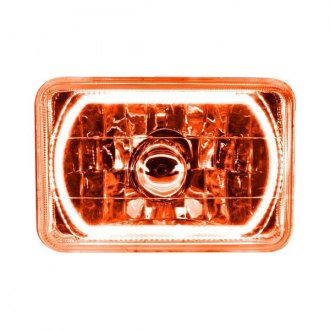 "Oracle Lighting® - 4x6"" Rectangular Chrome Factory Style Headlight with Amber SMD Halo Preinstalled"