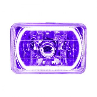 "Oracle Lighting® - 4x6"" Rectangular Chrome Factory Style Headlight with Purple SMD Halo Preinstalled"