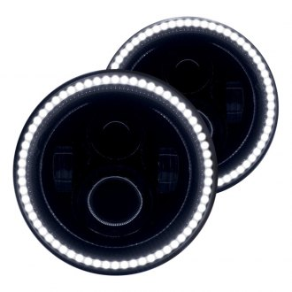 "Oracle Lighting® - 7"" Round Black Halo Projector LED Headlights with White SMD Halos"
