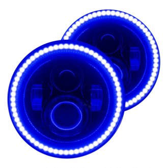 "Oracle Lighting® - 7"" Round Black Halo Projector LED Headlights with Blue SMD Halos"