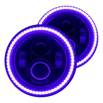 "Oracle Lighting® - 7"" Round Black Halo Projector LED Headlights with Purple SMD Halos"