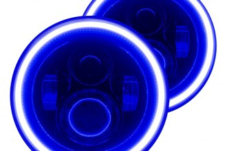 "Oracle Lighting® 5769-052 - 7"" Round Black Full LED Color Halo Projector Headlights, Plasma-Type Blue Halo"
