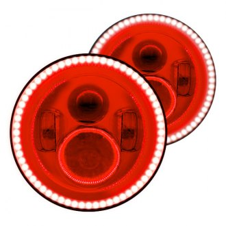 "Oracle Lighting® - 7"" Round Chrome Full LED Color Halo Projector Headlights, SMD-Type Red Halo"